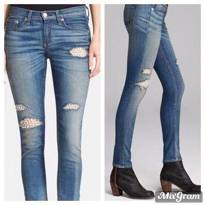 Rag & Bone Crochet Lace Skinny Jeans